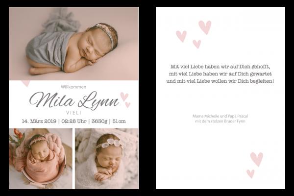 Geburtsanzeige Mila